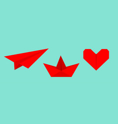 origami paper plane boat ship heart icon set red vector image