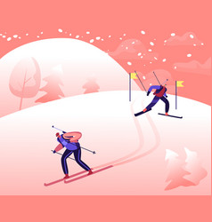 People skiing downhill during biathlon competition vector
