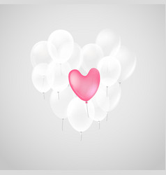Pink heart air balloon with white balloons vector