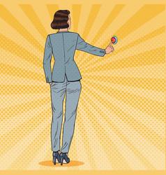 Pop art business woman pressing red button vector