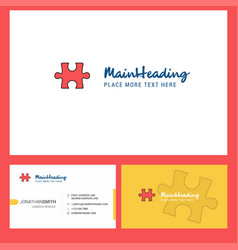 puzzle piece logo design with tagline front and vector image