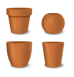 realistic brown empty flower pot set vector image