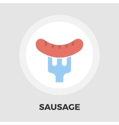 Sausage on a fork icon flat vector image