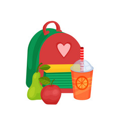 school backpack sweet fruits and fresh juice in vector image