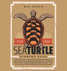 sea turtle fishing club seafood fisher big catch vector image