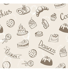 Seamless baked sweet food pattern Cake cookie vector