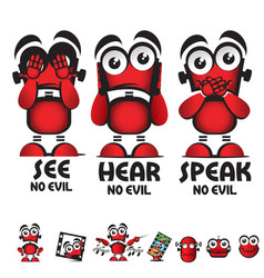 see no evil hear no evil speak no evil robot vector image
