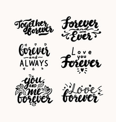 Set hand written lettering for valentines day vector