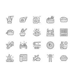 set japanese food line icons ginger temaki vector image