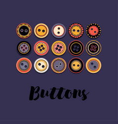set of buttons on dark blue vector image