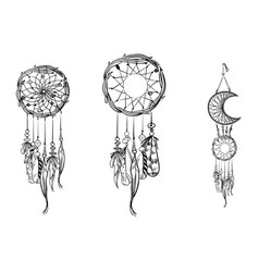 set of hand drawn dream catchers ornate ethnic vector image