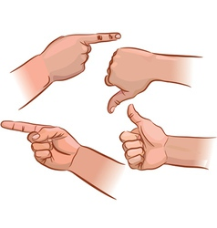 Set of hand pointers vector image