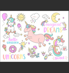 Set of unicorns and other fairy tales stickers vector