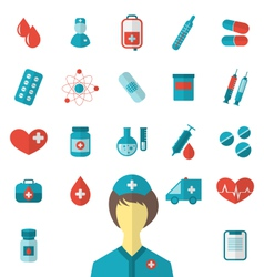 Set trendy flat medical icons isolated on white vector