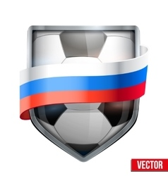 Shield in the football ball inside Russia flag vector image