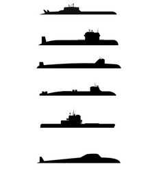 Six submarine silhouettes vector