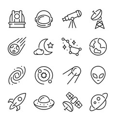 space and astronomy linear icons set vector image