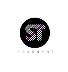 St letter logo design with white lines and black vector