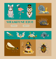 Steampunk animal set banners vector