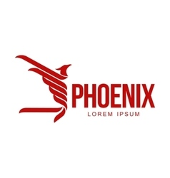 Stylized graphic phoenix bird flying with expanded vector image