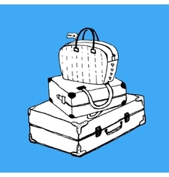 Suitcases and bag with luggage tag vector