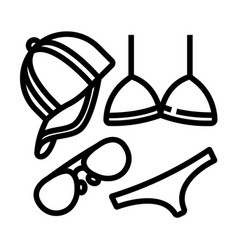 summer accessories line icon vector image