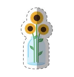 sunflowers vase decoration icon vector image