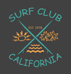 surfing design california with the image vector image