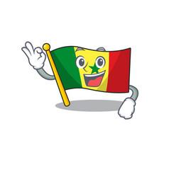 Sweet flag senegal cartoon character making vector