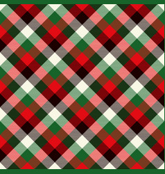 tartan seamless pattern background red green vector image