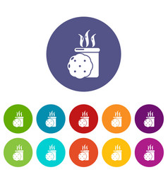 tea and biscuit icons set color vector image
