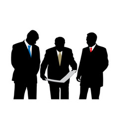 Three businessmen architects oe engineers vector