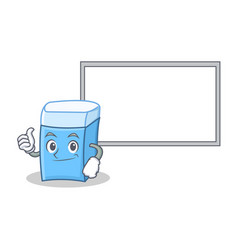 thumbs up with board eraser character mascot style vector image