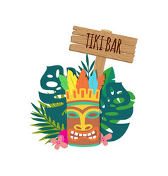 Tiki bar banner with hawaiian mask and leaves flat vector
