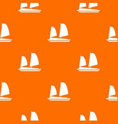 vietnamese junk boat pattern seamless vector image