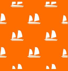 Vietnamese junk boat pattern seamless vector