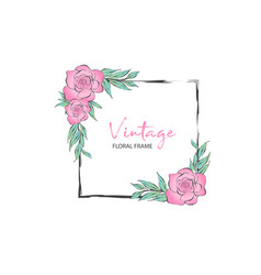 vintage square frame with pink rose vector image