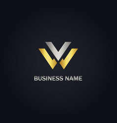 w initial gold logo vector image