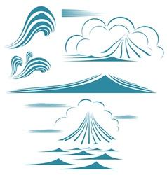 water wave symbol set vector image