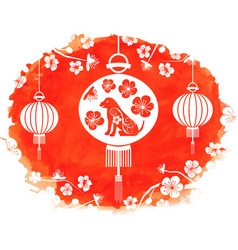watercolor frame with lanterns and earthen dog vector image