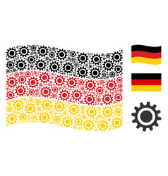 waving german flag mosaic of cog items vector image