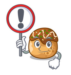 With sign cartoon cooking takoyaki in baked fire vector
