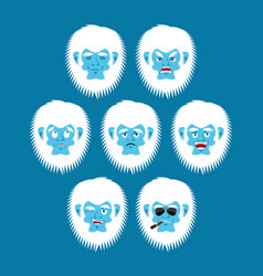 yeti emoji set bigfoot sad and angry face vector image