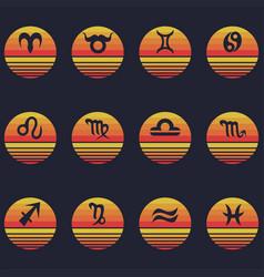 zodiac signs sunset retro vector image