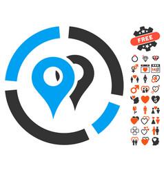 Geo diagram icon with dating bonus vector