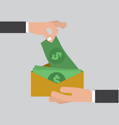 hand giving money to other hand corruption concept vector image vector image