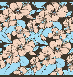 Lemon blossom drawing seamless pattern vector