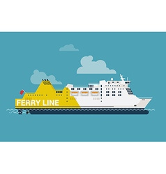 Ferry line ship icon vector