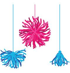Happy colorful birthday party pom poms set vector