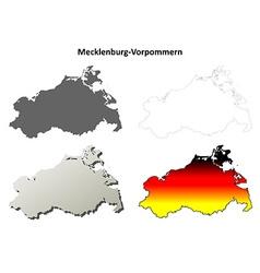 Mecklenburg-Vorpommern outline map set vector image vector image